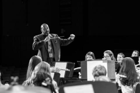 Dr. Hilliard Conducting a band